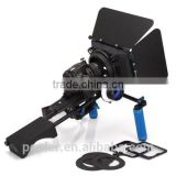 Poplar DSLR Shoulder PAD Support Mount Rig+Hand Grip+Follow Focus+Digital Matte Box M3 Video Movie Kit For DV HDV HD Camcorder D