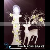 wedding celebration deocration decorative white iron christmas deer & flowers beautiful flower decoration for wedding