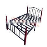 cheap metal double bed with wooden poster,modern iron bedroom design furniture sets China 2013 S-10