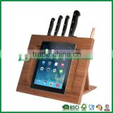 Triangle stand durable bamboo knife block with ipad holder