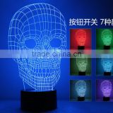 3D illusion LED Lamp Light USB Skull Colorful Night Light for Wedding decorative Innovative Christmas Gift Present