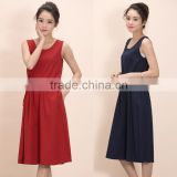 Women's U-Neck Sleeveless A Line Loose Design Linen Dress Solid Color Dress With Stripe Belt