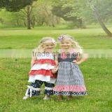 wholesale baby sisters ruffle satr print girl boutique clothing letter print long dress for 4th of july
