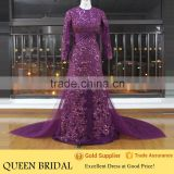 Real Works Alibaba Shiny Sequin Purple Long Sleeve Muslim Evening Dress with A Train 2015
