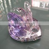 Optical Pink Crystal Pair Swans With Crystal Diamond And Heart Crystal Base For Wedding Deccoarion