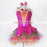Childrens' ballet leotard with tutu for performance,girls pink performance wear ,Girls stage wear like Genie