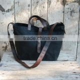 Custom black waxed canvas tote bag with leather shoulder straps                                                                         Quality Choice
