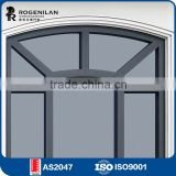 ROGENILAN 108 series favourable price double glass grey color aluminum arch window for european market
