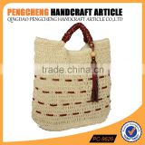 Article Paper straw material shopping tote bag in pu handle wooden buckles decorated women crochet handbag