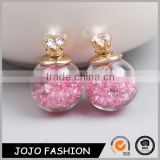 Lastest design double sided glass ball bubble crystal stud earrings                                                                         Quality Choice