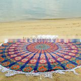 Round Mandala Hippie Gypsy Beach Throw Mandala Roundie Tassel Roundie Tapestry Wholesaler Indian Tapestry Round Roundie