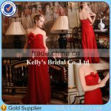 New ! Simple Style Strapless Draped Red Chiffon Bridal Gowns