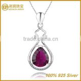 Silver fashionable ruby jewelry austrian crystal pendant necklace wholesale 24k gold plated statement jewellery