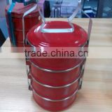Enamel Tiffin Carrier-take away containers food box 4 tier enamel tiffin lunch box with metal rim