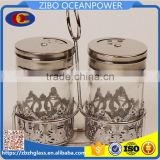 silver embossing coat glass spice jar with basket