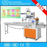 Automatic pillow packing machine for hamburger buns,chewing gum,candy wrapping in Vietnam