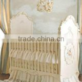 Victoria Style Lvory White Children Bed, Elegant Hand Painting Wooden Baby Crib, Noble Nursery Bedroom Furniture
