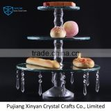 Wedding crystal cake stand for wedding decoration with hanging crystal chains