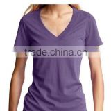 Plain dyed womens V neck t shirt
