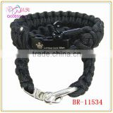 550 paracord survival bracelet with stainless steel U shaped adjustable shackle and laser logo