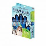 right and left hand pet grooming glove brush 2 in 1 dog and cat massage blue color glove For Long & Short Hair