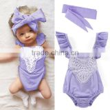 Baby Romper 2017 Girl Lace Bibs With Headband M7041709