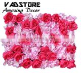 artificial rose flower with hydrangea background wall for road led wedding