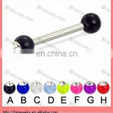 Acrylic ball with stone straight barbell, 12ga with gems on the ball tongue ring body piercing jewelry