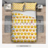 wholesale china supplier low MOQ 3d digital print emoji bed sheet custom 3d bed cover set
