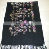 Peacock Flower embroider scarf 170*68cm lady's scarf woman shawl