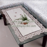 Hand Cutwork Floral Embroidered Polyester Dining Tablecloths for Rectangle Table
