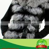 New Style Fashion Luxurious Pretty Real Silver Fox Fur And Rabbit Skin Women Coat
