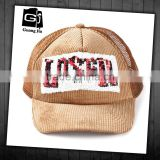 New design sequins curved bill hat custom 5 panel corduroy trucker cap