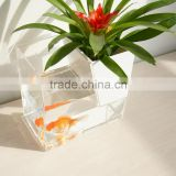 custom wholesale hot sale clear acrylic fish aquarium tank with flowerpot,small desktop acrylic fishbowl/flower vase
