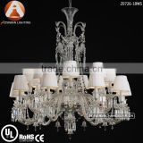 18 Light Baccarat Lustre Cristal with White Lampshade