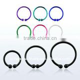 925 Sterling silver wire non-piercing fake nose clip, 20g (0.8mm) with color plating and an outer diameter of 8mm - 12mm