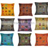 Handmade Embroidery Work Cushion Cover Multi Patchwork Sofa Cushion Cover