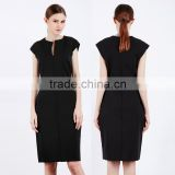 Women's Summer Plunge V Neck Back Zipper Short Cap Sleeve Slim Bodycon Dress Black Cocktail Dress