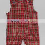 New Summer Red Cotton Plaid Baby Girls Shortalls Infant Kids Romper Newborn ClothesToddler Overalls G-NPRR90628-25