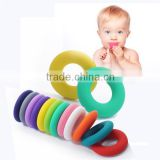 BPA free Silicone donut shape loose beads,silicone donut pendant teething,baby teether boy