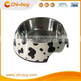 "Chi-buy Cow Lines Detachable Dual Melamine Pet Bowl antiskid Dog cat food water Bowl,S Size:3.93""LX5.51""WX1.77""H"