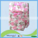 New facny print pink heart craft foam paper bag for packing gifts with ribbon handles made in china manufacturer and supplier