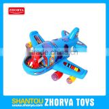 Battery operated bump & go educational cartoon musical planes toys 2 colours Aircraft driving with block and light for children