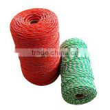 electric fence rope made from pe and pp monofilament yarn and steel stainless