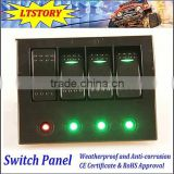 Marine Boat Bridge Control Rocker Switch Panel With Breaker 4 GANG