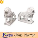 Hand carved norton factory white lion marble statues NTBM-L009Y