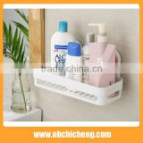 plastic wall mounted type Powerful suction bathroom shelf solid color single tier bathroom corner shelves