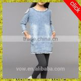 Fashion princess lace denim dress for girls girl's denim skirt high quality,wholesale price in china