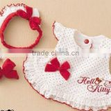3 pc set baby wear ,Baby Skirt Red point lace dress with cute headband and wrist band, baby clothing set