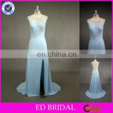 LN138 Sexy Low Back Stone Beaded Boat Neck Split Side Real Sample Evening Dress For Seniors